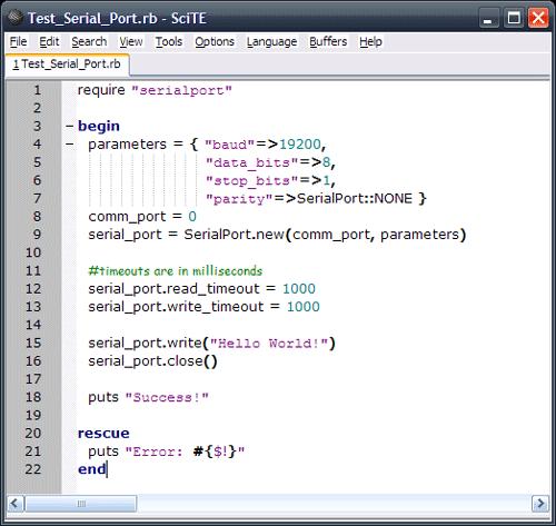 Ruby Serialport on Windows
